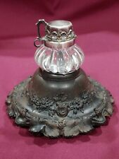"""Antique Victorian Inkwell Wood Glass Ink Jar marked VERY NICE 3.5"""" Black Forest"""