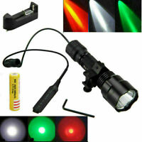 Tactical Flashlight Hunting Light Red/Green/White LED Gun Rifle Scope Lamp Torch