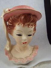Vintage JAPAN Pink Hat & Ruffle Lady Head Vase (D19)