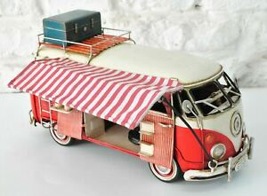 JAYLAND LARGE SCALE TIN PLATE VW SAMBA BUS WITH AWNING HOME OFFICE DECOR DEAL
