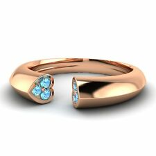 Heart Wedding Band Ring 0.11 Ctw Natural Blue Topaz 14k Rose Gold Womens Jewelry