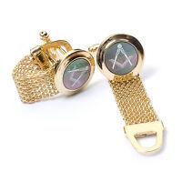 Stunning boxed Masonic Black Onyx Cufflinks with Gold Chain Strap Craft Gift