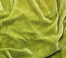 """Hand Dyed Silk VELVET Fabric Spring Green fat 1/4 18""""x22"""" remnant"""