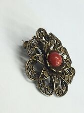 900 Marked Solid Silver Brooch/Pendant A/F W/red coral 7.5grams