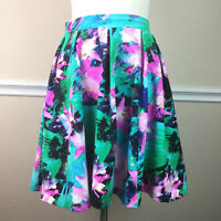 Cynthia Rowley Womens Skirt A Line Box Pleated Bright Floral Stretch Size M