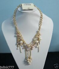 New Auth Forever 21 Beautiful Necklace with Faux Pearls-Gold Tone