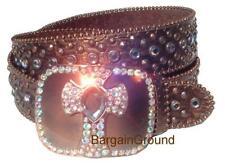 US Seller Brown Bronze Rhinestone Bling Cross Leather Snap On Buckle Belt M SM
