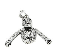 Monkey Charm Or Pendant Silver 3D Movable Sitting Chimpanzee