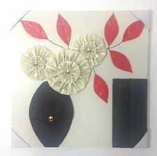 Large beautiful faux leather wall art floral vase design frame black/red 60x60cm