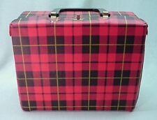 Vintage vinyl Tartan Red plaid square lunch box
