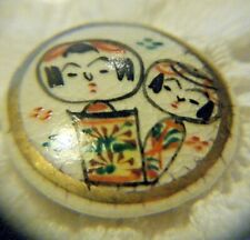 "Antique  Button Kokeshi dolls  SATSUMA JAPAN Ceramic  3/4"" hand painted"