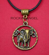 Vintage Bronce PLT recargado Elefante Disco Colgante Collar Damas Regalo Amor Animal