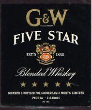 Unused 1940s ILLINOIS Peoria Gooderham Worts GW FIVE STAR WHISKEY Label