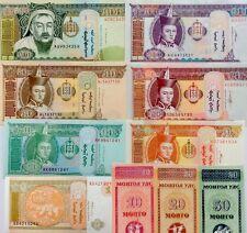 BANKNOTES MONGOLIA 10 20 50M 1 5 10 20 50 100 500Tugriks 2000 2014 UNC SET 10Pcs
