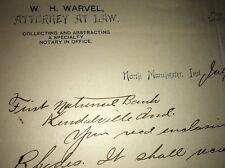 Handwritten Signed Warvel Attorney North Manchester Indiana Letterhead 1892