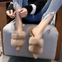 Womens Pointy Toe Winter Faux Fur Furry Mules Slipper Flats Casual Shoes Slip on