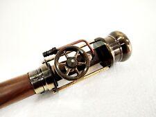 Antique Working Brass Steam Engine Handle Wooden Walking Stick Cane 36 Inch