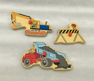 LOT OF 3 REPLACEMENT WOODEN PUZZLE PIECES / DUMP TRUCK / BACKHOE / BARRICADE