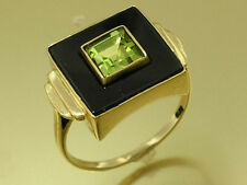 C1092 Genuine 9ct Solid Gold NATURAL ONYX & Peridot Ring,CHIC & RETRO in yr size