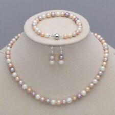 Genuine 7-8mm Natural Akoya Freshwater Pearl Necklace Bracelet Earrings AAA+