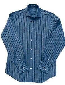NWT Bugatchi Uomo Classic Blue Men's Shirt Shaped Fit Size S