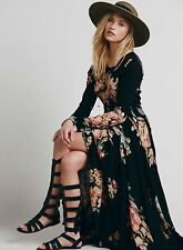 Free People First Kiss Black Garden Floral Print Boho Maxi Dress Gown S Rare