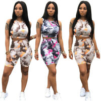 New Fashion Women Short Sleeve Tie-dye Print Vest Bodycon Casual Jumpsuit 2pcs