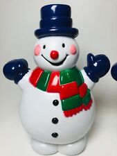 "Lot Of 2 Small 8"" Christmas Snowman Blow Molds Snowmen Top Hat & Scarf red/green"