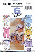 BUTTERICK SEWING PATTERN 4110 BABY SZ S-XL JUMPSUITS, DRESSES, PANTIES & HAT