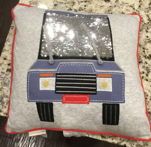 """Pottery Barn Kids On The Road Car Gray Jersey Decorative 16"""" Pillow Hot Wheels"""