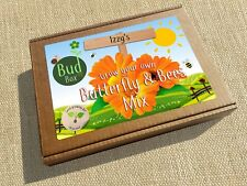 PERSONALISED CHILDREN'S / KIDS BUTTERFLY'S AND BEES FLOWER MIX SEED BOX / KIT