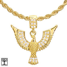 "Men's 14k Gold Plated CZ Stone Flying Eagle Pendant 22"" Chain Necklace HC 1150 G"