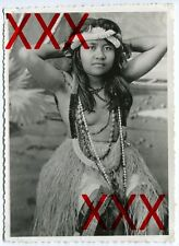 Fille Hawaii-ORIG. photographie, 1932, Hawaiian topless hula girl, vintage photo