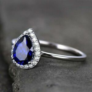 2ct Pear Cut Blue Sapphire Halo Solitaire Engagement Ring 14K SOLID White Gold