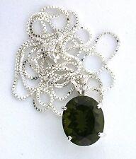 3.99 Carat 12x10 Oval Moldavite Gem Gemstone PURE Sterling Silver Pendant Chain