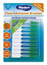 2 x WISDOM CLEAN BETWEEN INTERDENTAL BRUSHES 2 pack of 20 brushes Medium GREEN