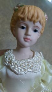 """ANTIQUE Reproduction BISQUE Christmas ORDAMENT 8"""" BALLET DOLL SATIN Netted DRESS"""