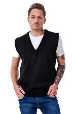 Men's Plain Knitted V Neck Classic Sleeveless Cardigans Tops Jumpers Size S-5xl L Black 100 Acrylic