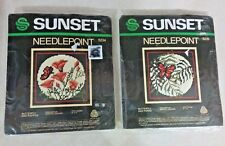 2 SUNSET DESIGNS 1 BUTTERFLY AND FERNS & 1 BUTTERFLY AND POPPIES NEEDLEPOINT KIT