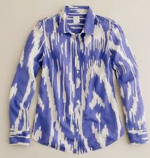 J.CREW The Perfect Shirt In Wild Ikat Purple Ivory Silk Blend Blouse #45542 Sz 2