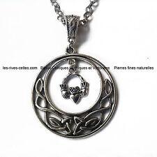 Collier  pendentif entrelacs celtiques et  Claddagh irlandais