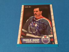 Charlie Huddy Oilers 1989-90 O-Pee-Chee Signed Auto Card