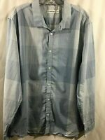 Calvin Klein Blue Plaid Patchwork Shirt Long Sleeve Men's Size XL