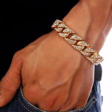 "Hiphop Herren 18K Gold Kristall Cuban Armband Armreif Armkette 14MM Chain  7.8"""