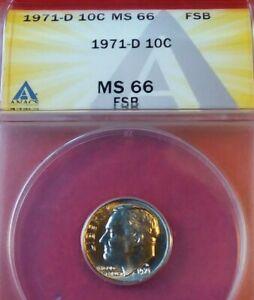 1971-D MS66FSB ANACS ROOSEVELT DIME