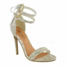 WOMENS LADIES HIGH HEEL STRAPPY STILETTO ANKLE CUFF STRAP PEEP TOE SHOES SANDALS