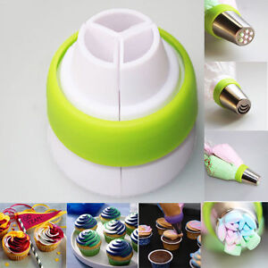 3-Color Cake Cream Decor Icing Piping Bag Russian Nozzle Converter Coupler Tool