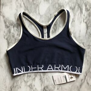 UNDER ARMOUR Navy Blue/White Medium Support Compression Sports Bra || Large NWT