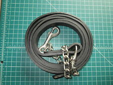 HEAVY LATIGO LEATHER LEAD OR REINS WITH 8 FOOT CHAIN DOG HORSE GOAT