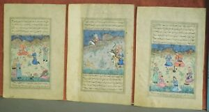 3 Original Antique Persian Style Minature Painting Kufic Text Hunt Scene 2 other